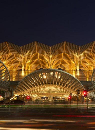 Long exposure night shot of the illuminated Oriente railway station, Lisbon